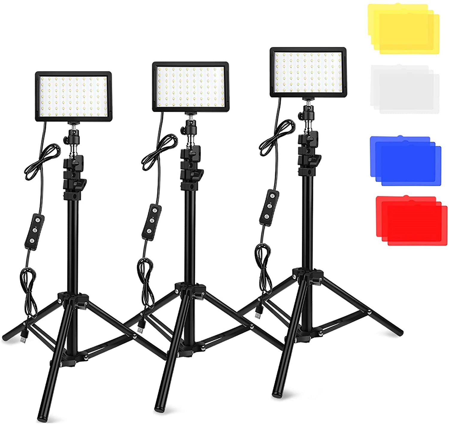 3- Point LED Lighting Kit w/ Gels and Stands Image